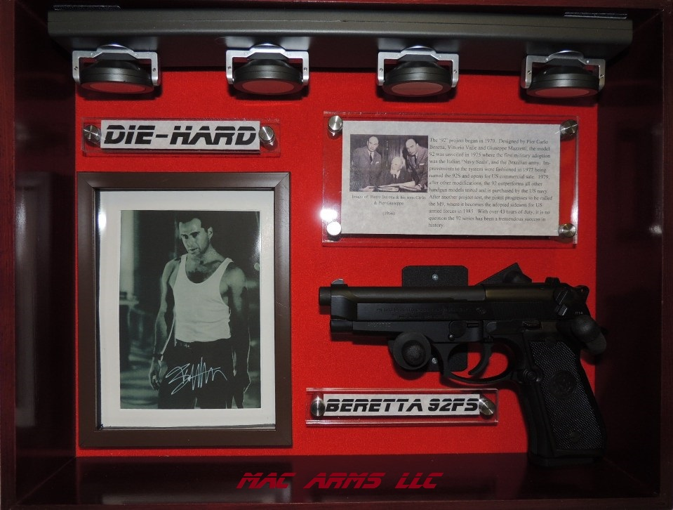 Custom Designed Beretta 92FS Pistol Display Case Die Hard